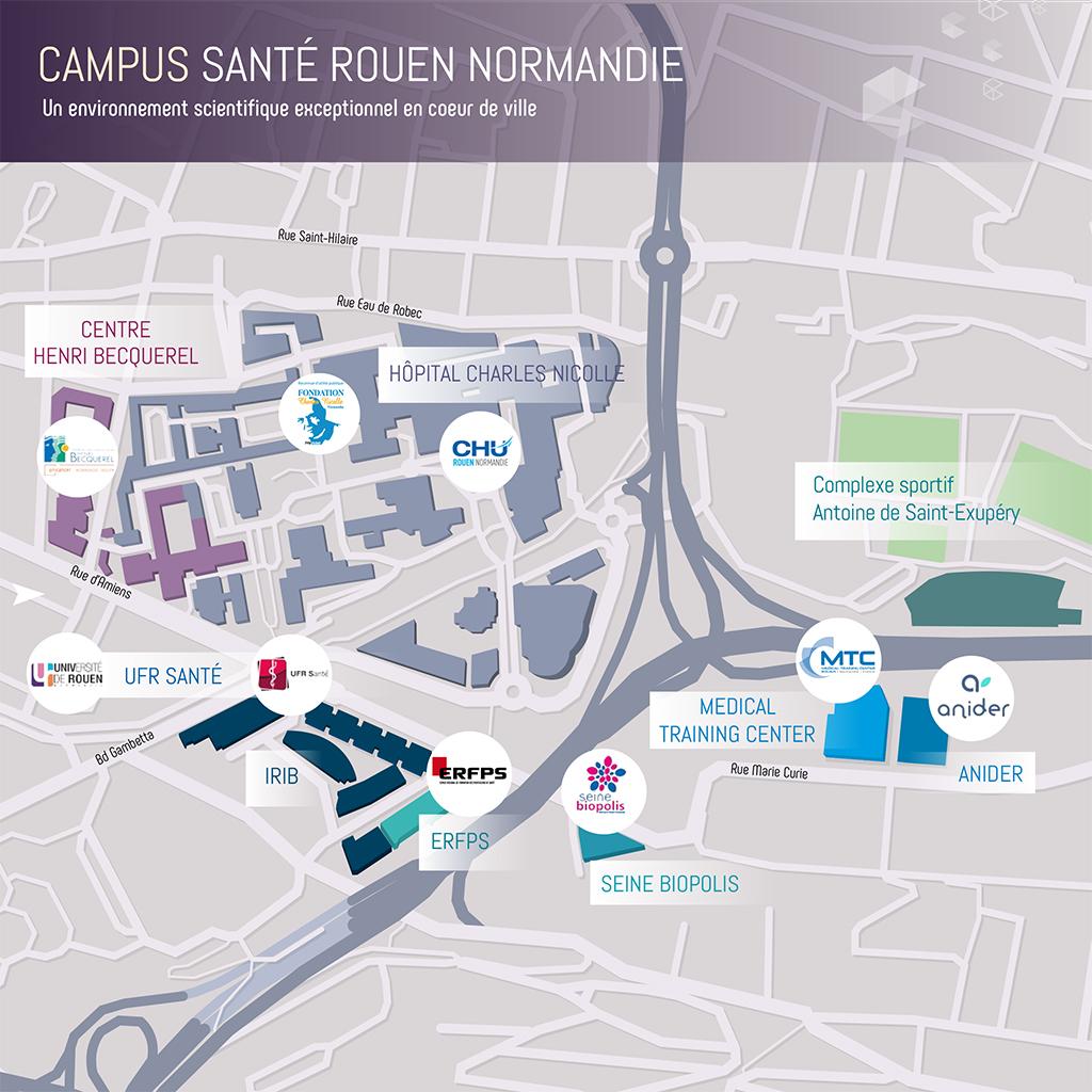 Carte de location des différents acteurs au sein du Campus Santé Rouen Normandie